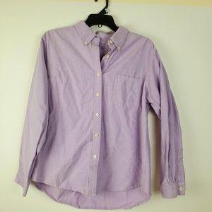 LL Bean Womens XL Reg Lavender Solid Button Up